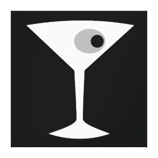 Film Noir Martini Glass Stretched Canvas Print