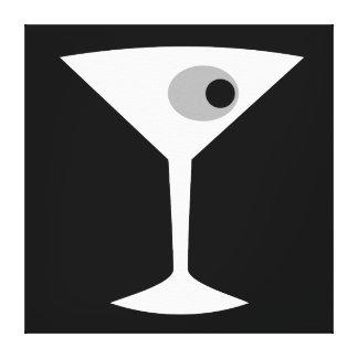 Film Noir Martini Glass Stretched Canvas Print