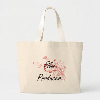Film Producer Artistic Job Design with Hearts Jumbo Tote Bag