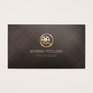 Film Producer Film Reel Icon Brushed Gold Metal Business Card