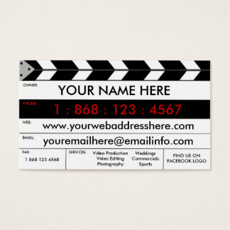 Film Production Film Slate Business Card