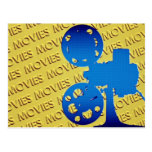 """Film projector over yellow """"movies"""" background postcard"""