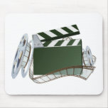 Film reel and clapper board background mouse pad