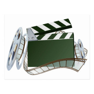 Film reel and clapper board background postcard