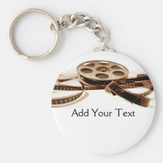 Film Reel in Sepia Tones Background Keychains