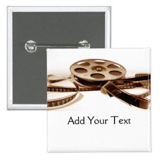 Film Reel in Sepia Tones Background Pinback Button