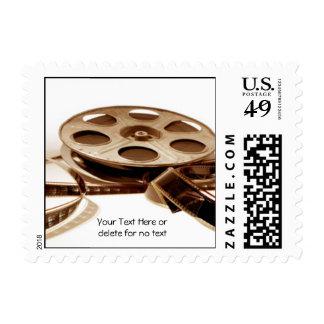 Film Reel in Sepia Tones Background Postage