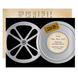 Film Reel Movie Theme Birthday Party Invitation