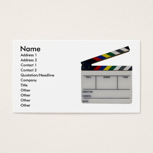 Film slate color clapboard movie business card