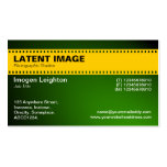 Film Strip Header - Amber and Shaded Green Business Card Template