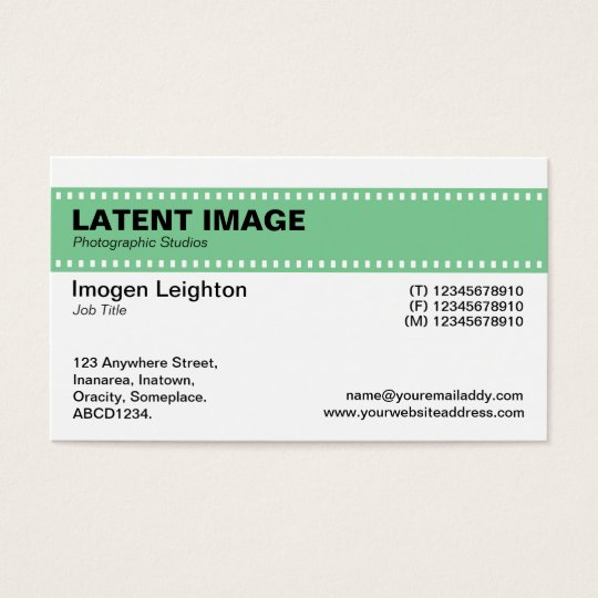 Film Strip Header - Dull Green and White Business Card