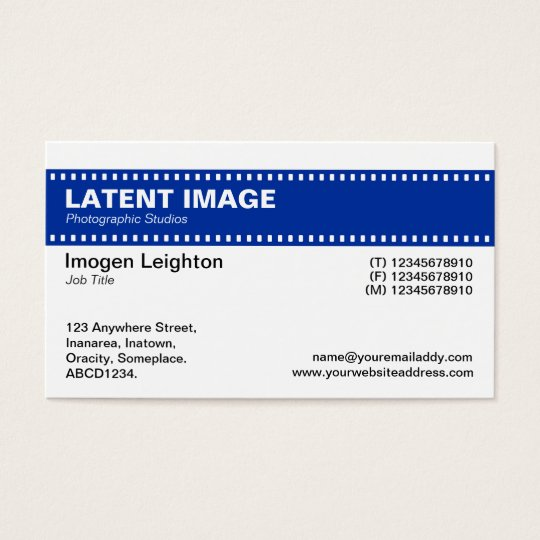 Film Strip Header - Navy and White Business Card