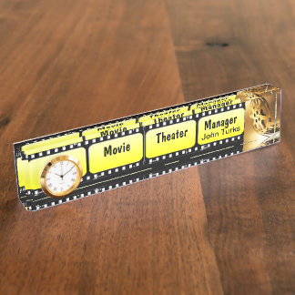 Film Strip Name Plate With Clock
