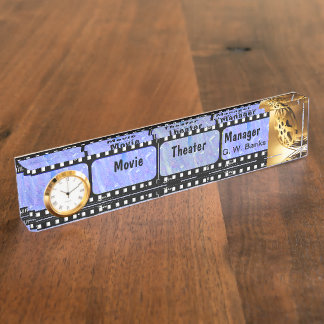 Film Strip Name Plate With Clock Desk Nameplate