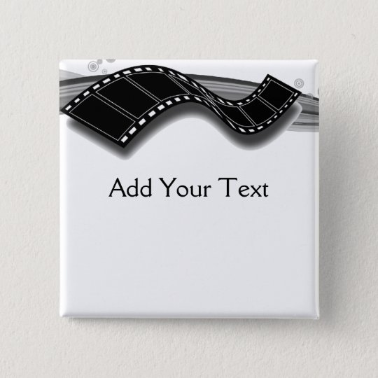 Film Strip on Black and White Ribbon Pinback Button