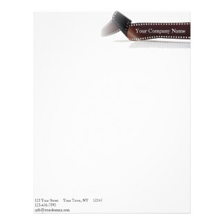 Film Strip with Reflection on White Letterhead