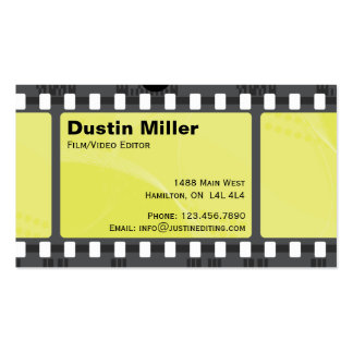 Film Strip - Yellow Business Card Template