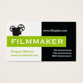 Filmmaker black, white, lime green eye-catching business card