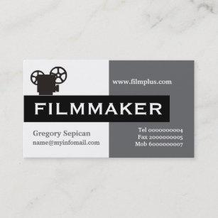 filmmaker grey white black eye catching business card - Filmmaker Business Card