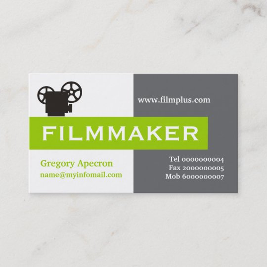 filmmaker grey white lime green eye catching business card - Filmmaker Business Card