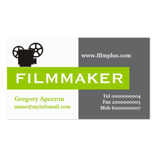 Filmmaker grey, white, lime green eye-catching business card templates