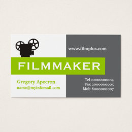 Black filmmakers business cards templates zazzle filmmaker grey white lime green eye catching business card reheart Images