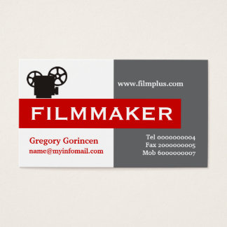 Filmmaker grey, white, red eye-catching business card