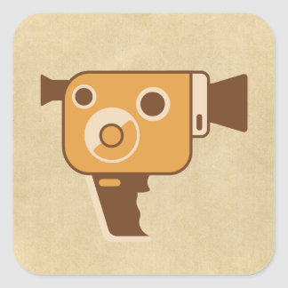 Filmmaking Auteur Movie Camera Square Sticker