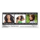 Filmstrip Graduation 3-Photo 4x9.25 Paper Invitation Card