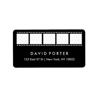Filmstrip in Black and White Label