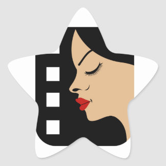Filmstrip with side view of a woman star sticker