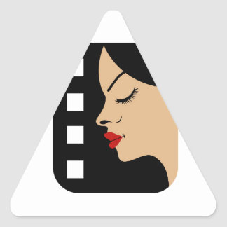Filmstrip with side view of a woman triangle sticker