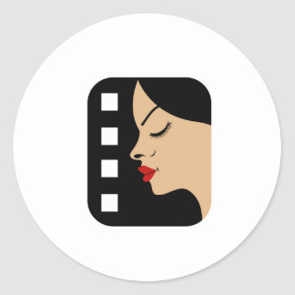 Filmstrip with side view of a woman round stickers