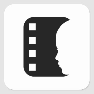 Filmstrip with side view of a woman square sticker