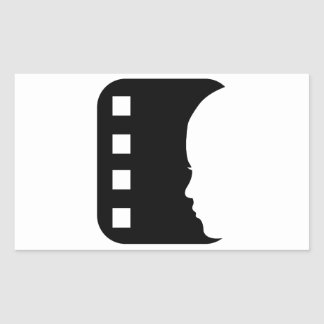 Filmstrip with side view of a woman rectangle stickers