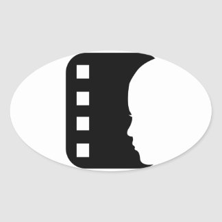 Filmstrip with side view of a woman oval stickers