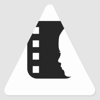 Filmstrip with side view of a woman triangle stickers