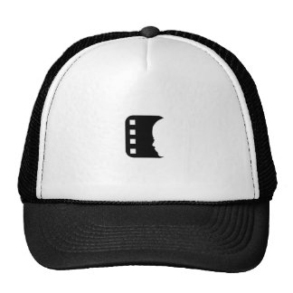 Filmstrip with side view of a woman trucker hat