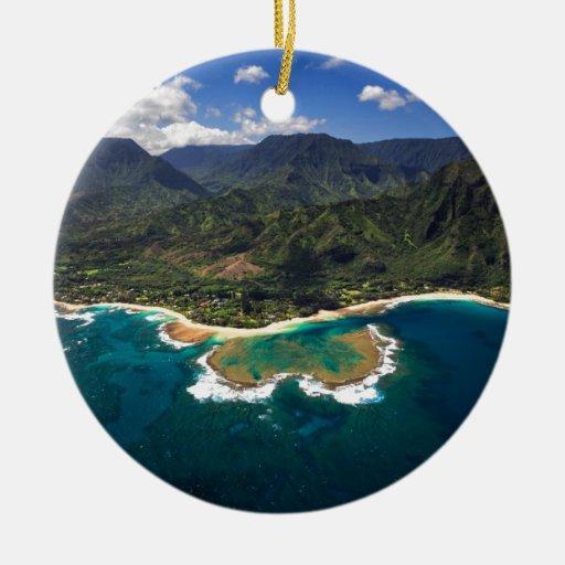Filón de los túneles en la isla hawaiana de Kauai Adorno Redondo De Cerámica