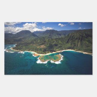 Filón de los túneles en la isla hawaiana de Kauai Rectangular Pegatinas