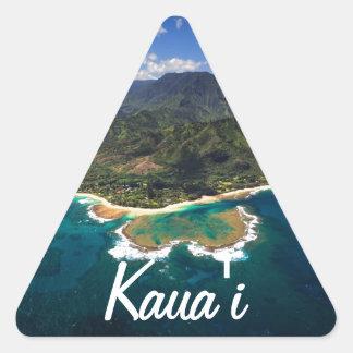 Filón de los túneles en la isla hawaiana de Kauai Pegatina Triangular