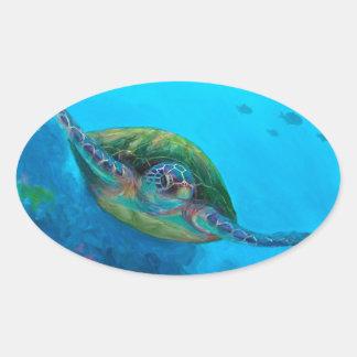Filón tropical hawaiano de los pescados de la colcomanias oval