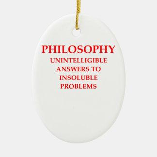 filosofía adorno navideño ovalado de cerámica