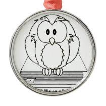 Filosofia Coruja com livro Philosophy Owl on book Metal Ornament