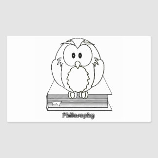 Filosofia Coruja com livro Philosophy Owl on book Rectangle Sticker