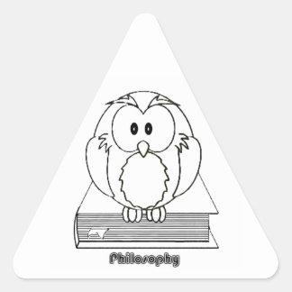 Filosofia Coruja com livro Philosophy Owl on book Triangle Sticker