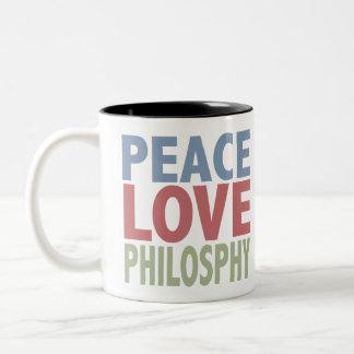 Filosofía del amor de la paz taza de dos tonos
