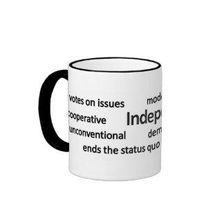 Filosofía independiente y valores del votante taza de dos colores