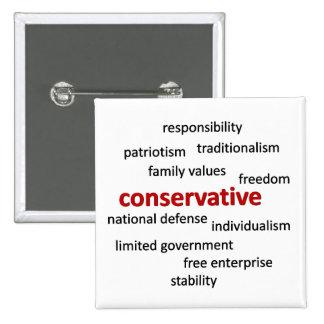 Filosofía y valores conservadores pin cuadrado