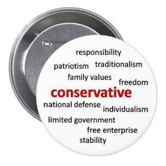 Filosofía y valores conservadores pin redondo de 3 pulgadas